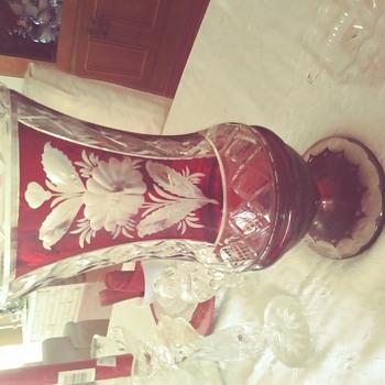 Bohemian cranberry cut glass