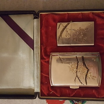 950 Silver Japanese Cigarette Case and Lighter Set (Help please) - Tobacciana