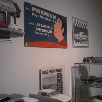 Signage in my rooms & garage.  The first picture is a heavy cardboard sign from the fifties.   - Signs