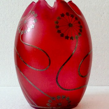 c1900 Carl Goldberg Ruby Glass Vase. - Art Glass