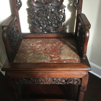 Repost of my rosewood( not cherry) and marble  Asian chair. - Asian