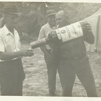 My Grandfather On Wagon Train Ride With Huge Walker's Deluxe Bourbon Bottle - Photographs