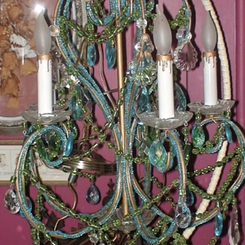 Antique French Beaded Chandelier - Lamps