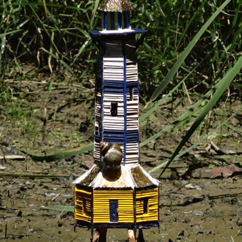Popsicle Stick Lighthouse - Popsicle Stick House- Popsicle Stick Art - Folk Art