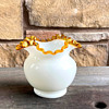 """Fenton White Glass Crimped Crest Bowl Vase 5-1/2"""" with 6-1/2"""" rim...Is this GOLD Crest or Amber Crest or what?"""
