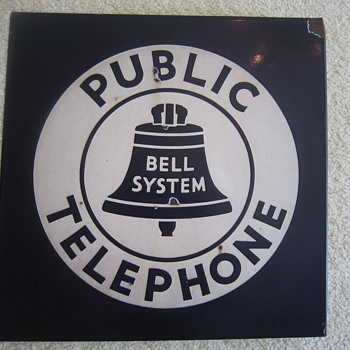 1940's Bell System Public Telephone Double Sided Porcelain Flange Sign Advertisement - Telephones