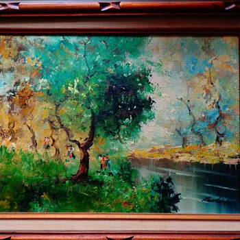 """Oil Painting By Norlink """"Riverside"""" with Certificate of Authenticity"""