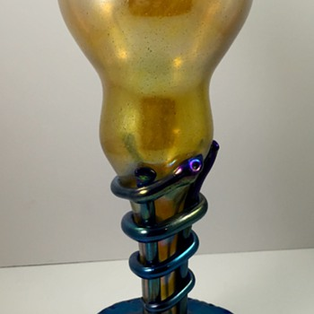 Loetz Serpent-wrapped vase in Candia with Cobalt, PN II-6234, ca. 1908 - Art Glass