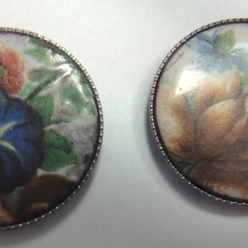 Four enameled Victorian buttons - Victorian Era