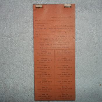 1930'S DAIRY ORDER TABLET
