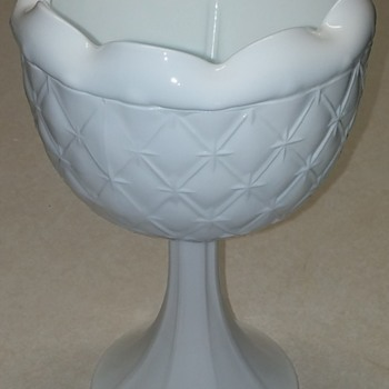 Indiana Glass 'Duette' c1965, Milk Glass Pedestal Planter/Vase