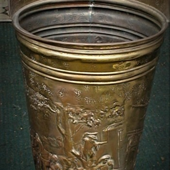 Vintage Brass Umbrella/ Cane Stand Holder Colonial Scene Embossed Relief  - Furniture