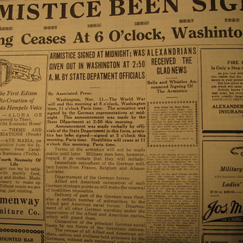 Armistice Signed  Article from Newspaper