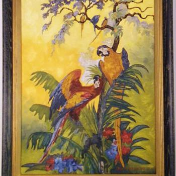 "Vintage Original Oil Painting by ""Robert H. Stanfield"" "" Parrots Dance"" HELP!"