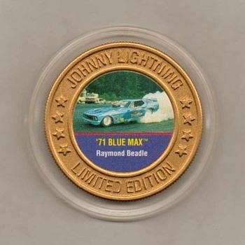 Johnny Lightning '71 Blue Max Mustang Collector Disk - Model Cars