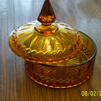Amber colored candy dish. - Glassware