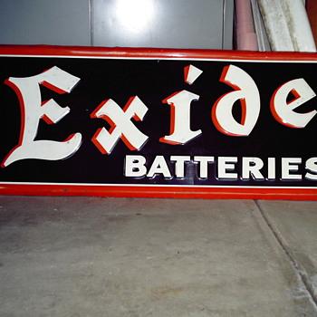 1941 EXIDE BATTERIES sign - Petroliana
