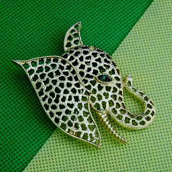 Trifari Elephant Head Brooch - Costume Jewelry