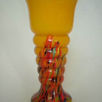 Czech Art Deco Welz Spatter Glass Vase  - Art Glass