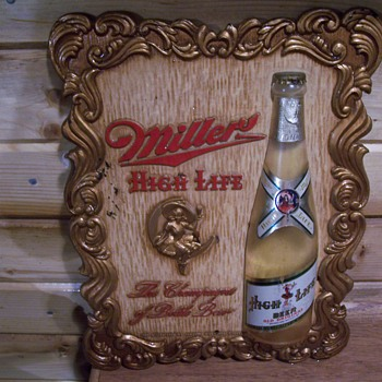 1952 miller high life girl on the moon composite sign - Breweriana