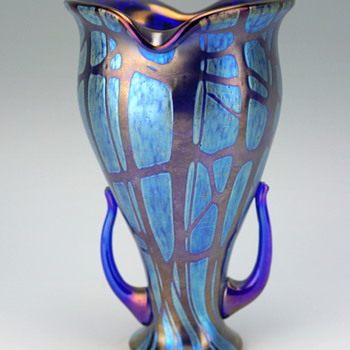 Loetz Pampas Handled Vase - Art Glass