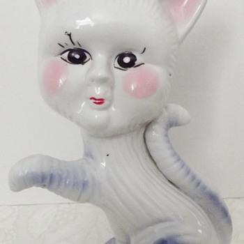 China Cat Figurine Blue & Pink - Glassware