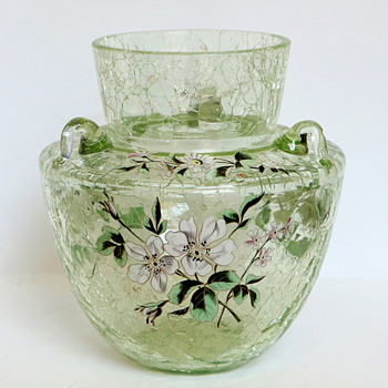 Harrach Crackle Vase with Handles and Enameled Blossoms - Art Glass