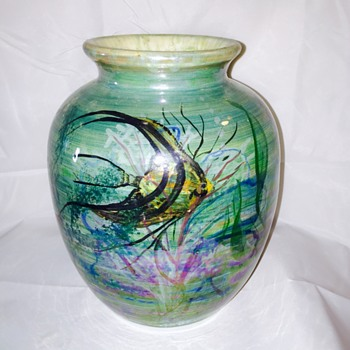 Vintage Glazed Hand Painted Fish Pottery Vase Help - Pottery