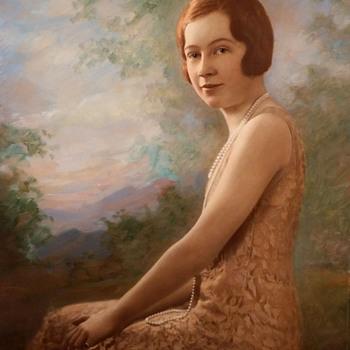 Tinted Flapper Portrait On Cardboard Signed Bachrach - Fine Art