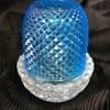 Victorian blue glass diamond cut fairy lamp with Clarke base