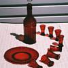 Cranberry glass Brandy set