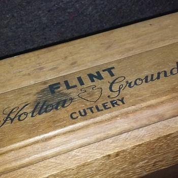 old oak FLINT HOLLOW GROUND CUTLERY store display/drawer? - Advertising