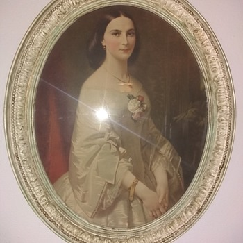 Old 'Southern Belle' print on very old frame. Trying to identify period on the frame.  - Fine Art