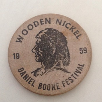 Rare 1959 Daniel Boone Festival Barbourville KY Wooden Nickel - US Coins