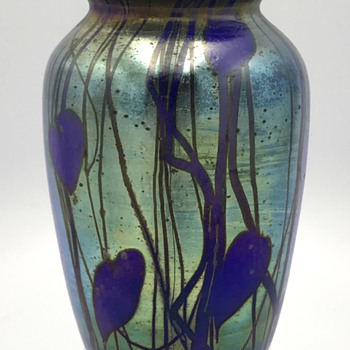 "Cobalt Hearts & Vines Vase. 6.25"" Tall. Unknown maker - Art Glass"