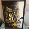 Black & Yellow Oil Based Boat Painting on Canvas signed by artist Michel