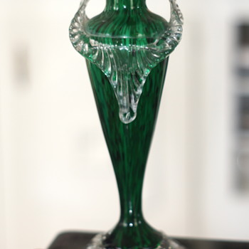 Welz Malachite - A New Décor - With New Rigaree  - On A New Size Of A Known Shape - Art Glass