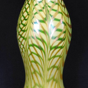 Quezal Three Color Lattice Vase c.1910 - Art Glass