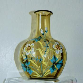 Victorian Bohemian? French? Painted Enamel Flower Optic Carafe Vase - Art Glass