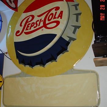 Embossed Pepsi-Cola Tin Sign...1957