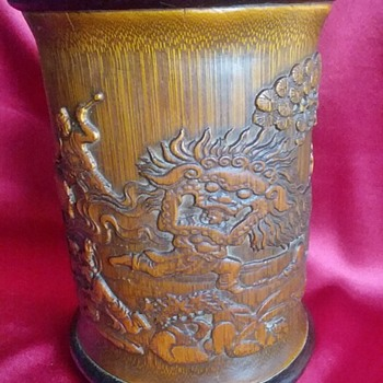 Bamboo Brush Pot 1900 China - Asian