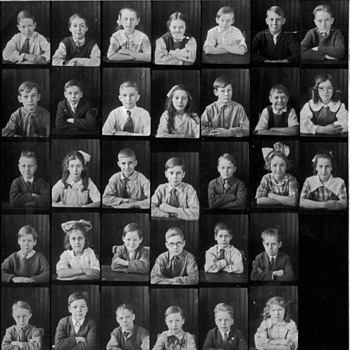Classroom with children 1900, and swinning hole print - Photographs