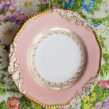 CoalPort England Antique Plate Pink White Gold Embossed Porcelain RARE 1880s - China and Dinnerware