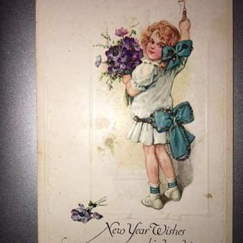 """""""New Year Wishes Kind And True"""" Postcard 1915  - Postcards"""