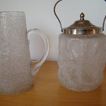 Bohemian overshot jug and box - Art Glass