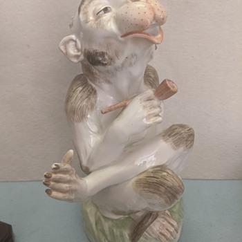 Carl Thieme Dresden Smoking Monkey Figurine - Figurines