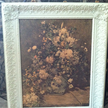 Floral print painted ornate frame