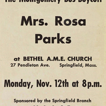 1956 Handbill advertising a Rosa Parks speaking appearance in Springfield MA - Advertising