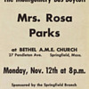 1956 Handbill advertising a Rosa Parks speaking appearance in Springfield MA
