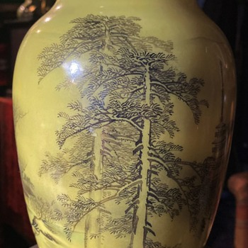 Japanese Vase with Yellow Background - Asian
